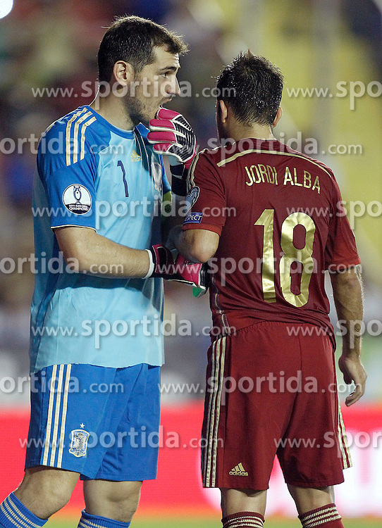 08.09.2014, Estadi Ciutat de Valencia, Valencia, ESP, UEFA Euro 2016 Qualifikation, Spanien vs Mazedonien, Gruppe C, im Bild Spain's Iker Casillas (l) and Jordi Alba // during the UEFA EURO 2016 Qualifier group D match between Spain and Macedonia at the Estadi Ciutat de Valencia in Valencia, Spain on 2014/09/08. EXPA Pictures &copy; 2014, PhotoCredit: EXPA/ Alterphotos/ Acero<br /> <br /> *****ATTENTION - OUT of ESP, SUI*****