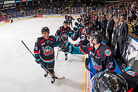 KELOWNA, CANADA - OCTOBER 10:  Leif Mattson #28 of the Kelowna Rockets celebrates a goal with fist bumps past the bench against the Seattle Thunderbirds on October 10, 2018 at Prospera Place in Kelowna, British Columbia, Canada.  (Photo by Marissa Baecker/Shoot the Breeze)  *** Local Caption ***