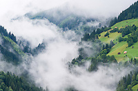 IFTE-NB-007627; Niall Benvie; Cut hay meadows near Fliess; Austria; Europe; Austria; Tirol; clouds mist hut building hay barn fields; horizontal; high above steep; green; farmland grassland meadow; 2008; July; summer; mist; agriculture; Wild Wonders of Europe Naturpark Kaunergrat