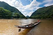 Boat on Nan Ou river at Muang Ngoi (Laos)