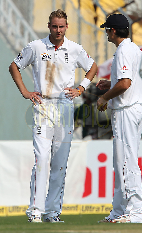 Alastair Cook - Captain of England and Stuart Broad of England talk tactics during day one of the 1st Airtel Test Match between India and England held at the Sadar Patel Stadium in Ahmedabad, Gujarat, India on the 15th November 2012...Photo by Ron Gaunt/ BCCI/ SPORTZPICS