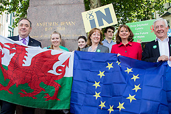 © Licensed to London News Pictures. 16/06/2016. Cardiff, Wales, UK. Plaid Cymru leader Leanne Wood and former Scottish First Minister Alex Salmond MP unite to make the case for Wales and Scotland's place within the EU. Photo credit: Tracey Paddison/LNP