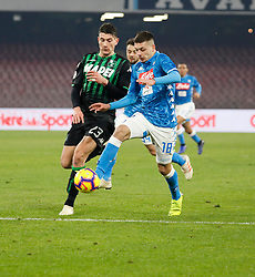 January 13, 2019 - Naples, Campania, Italy - Naples - Italy, 29 jannuary 2019 stadium San Paolo Napoli faces US Sassuolo for the Serie A championship.in the picture: the Napoli player Gianluca Gaetano  (Credit Image: © Fabio Sasso/Pacific Press via ZUMA Wire)