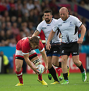 Leicester, Great Britain, Canadian Jeff HSSLER gathers the loose ball, during the Pool D game, Canada vs Romania.  2015 Rugby World Cup,  Venue, Leicester City Stadium, ENGLAND.  Tuesday    06/10/2015.   [Mandatory Credit; Peter Spurrier/Intersport-images]