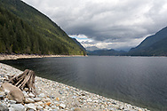 Very low spring water levels in Alouette Lake at North Beach.  Alouette Lake is in Golden Ears Park in Maple Ridge, British Columbia, Canada