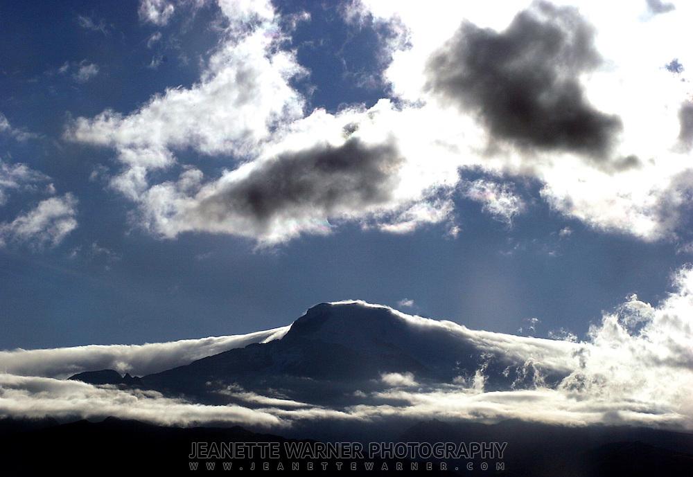 Volcano Cayambe at sunrise.