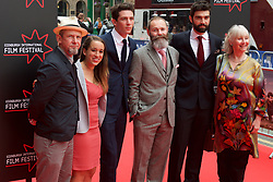 Left to right, Ian Heart, Polly Maberly, Josh O'Connor, Francis Lee ( Writer and Director) Alec Secareanu and Jemma Jones on the red carpet at the Edinburgh International Film Festival Opening Night Gala opens with the UK  Premier of God's Own Country directed by Francis Lee at Edinburgh's Festival Theatre. Wednesday 21st June 2017(c) Brian Anderson | Edinburgh Elite media