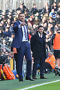 Fulham head coach, Slavisa Jokanovic not happy with a  decision during the Sky Bet Championship match between Fulham and Bristol City at Craven Cottage, London, England on 12 March 2016. Photo by Matthew Redman.