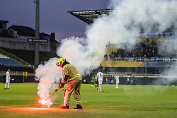 Firefighters during football game between NK Olimpija Ljubljana and NK Maribor in Final Round (18/19)  of Pokal Slovenije 2018/19, on 30th of May, 2014 in Arena Z'dezele, Ljubljana, Slovenia. Photo by Matic Ritonja / Sportida