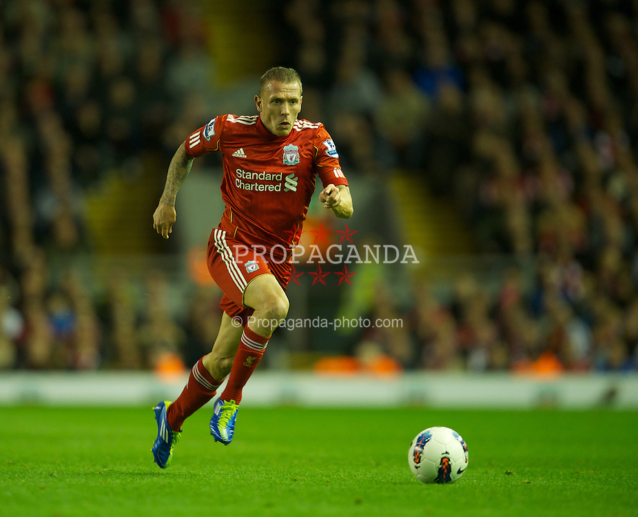 LIVERPOOL, ENGLAND - Saturday, October 22, 2011: Liverpool's Craig Bellamy in action against Norwich City during the Premiership match at Anfield. (Pic by David Rawcliffe/Propaganda)