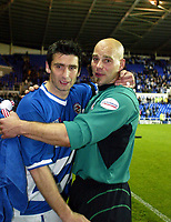 Photograph: Scott Heavey<br />Reading V Wolverhampton Wanderers. 14/05/2003.<br />A dejected Marcus Hahnemann and Adie Williams after the final whistle during this Natinwide Division one playoff Semi-final, second leg match at the Madjeski Stadium.