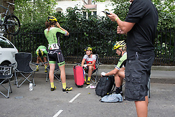 Doris Schweizer (SUI) of Cylance Pro Cycling makes her final preparations for the Prudential RideLondon Classique, a 66 km road race in London on July 30, 2016 in the United Kingdom.