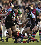 2005/06, National League One, Rugby, NEC Harlequins vs London Welsh, Left Quins nick Easter slips Tosh Masson the ball as Quins extend their winning run, at the Twickenham Stoop, on 26.12.2005 ENGLAND   © Peter Spurrier/Intersport Images - email images@intersport-images..   [Mandatory Credit, Peter Spurier/ Intersport Images].
