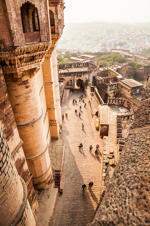 Looking down over one of the gates of Mehrangarh Fort which stands above the city of Jodhpur, Rajasthan, India.