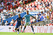 Chelsea Midfielder Callum Hudsen-Odoi (20) and Manchester City Defender Kyle Walker (2) battle for the ball during the FA Community Shield match between Chelsea and Manchester City at Wembley Stadium, London, England on 5 August 2018. Picture by Stephen Wright.
