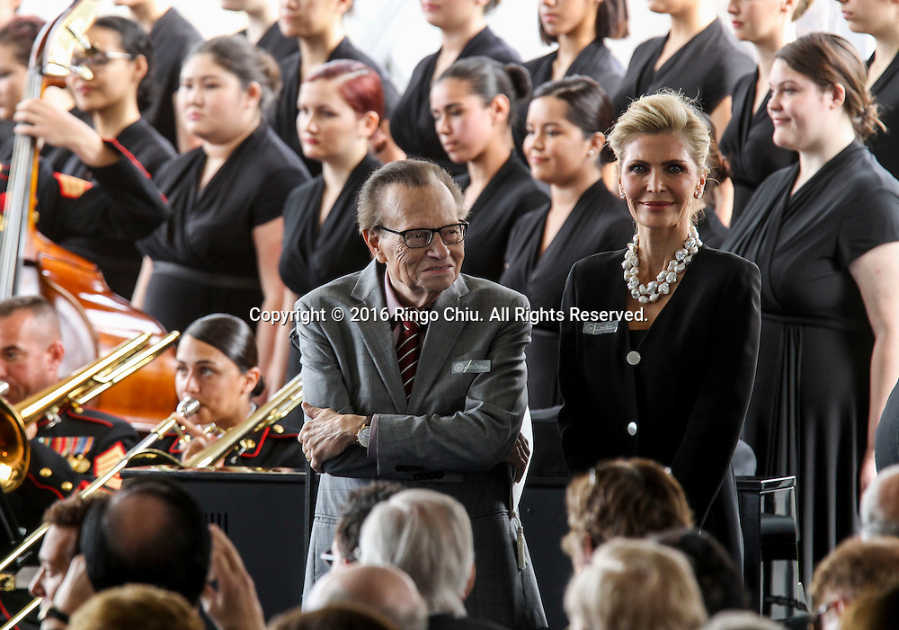 Larry King arrival during a funeral service for the former first lady Nancy Reagan at the Ronald Reagan Presidential Library and Museum in Simi Valley, California on March 11, 2016. Reagan died of congestive heart failure in her sleep at her Bel Air home Sunday at age 94. A bout 1,000 guests from the world of politics attended the final farewell to Nancy Reagan as the former first lady is eulogized and laid to rest next to her husband at his presidential library.<br />    (Photo by Ringo Chiu/PHOTOFORMULA.com)<br /> <br /> Usage Notes: This content is intended for editorial use only. For other uses, additional clearances may be required.