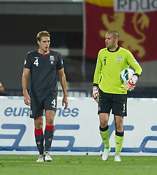 NOVI SAD, SERBIA - Tuesday, September 11, 2012: Wales' goalkeeper Boaz Myhill looks dejected as Serbia score the second goal during the 2014 FIFA World Cup Brazil Qualifying Group A match at the Karadorde Stadium. (Pic by David Rawcliffe/Propaganda)