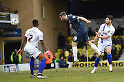 Southend United midfielder Sam McQueen heads wide during the Sky Bet League 1 match between Southend United and Gillingham at Roots Hall, Southend, England on 19 March 2016. Photo by Martin Cole.