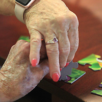 Carolyn Griffin work with her husband Maldon as they put a puzzle together at the Green House residents at Traceway Retirement Community.