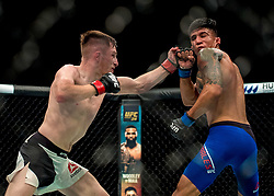 Brett Johns (White shorts) in action against Albert Morales in their bantamweight bout during the UFC Fight Night at the SSE Hyrdo, Glasgow.