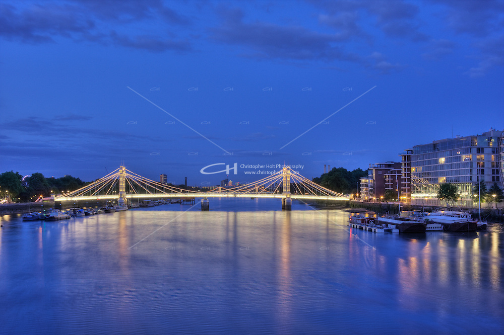 Albert Bridge over the River Thames at night, Chelsea, London