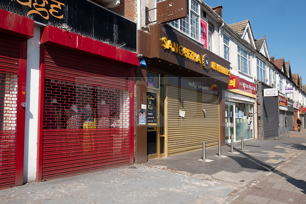 © Licensed to London News Pictures. 22/04/2020. London, UK. Closed shops and businesses in Ealing Road, Alperton. The start of the Muslim observation of Ramadan will begin during the Coronavirus lockdown.  Photo credit: Ray Tang/LNP