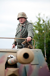 Reenactors portray panzer grenadiers from the 21st Panzer Division during he Spam 1940s Wartime Weekend Heckmondwike day one.<br />