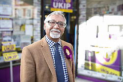 """© Licensed to London News Pictures . FILE PICTURE DATED 05/06/2014 of AMJAD BASHIR outside the UKIP shop in Newark , as this evening (24th January 2015) UKIP have announced their MEP for Yorkshire and the Humber has been suspended from the party over"""" serious """" financial issues . Bashir , who is UKIP ' s Communities Spokesman , had been expected to announce his defection to the Conservative Party this evening  (Saturday 24th January 2015) .  Photo credit : Joel Goodman/LNP"""