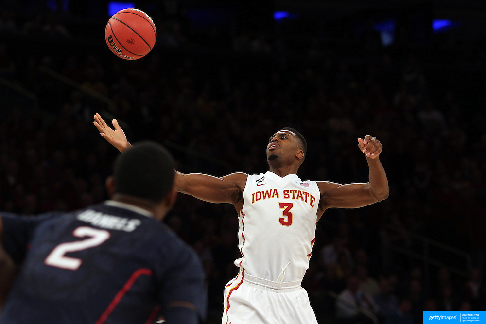 Melvin Ejim, Iowa, in action during the Iowa State Cyclones Vs Connecticut Huskies basketball game during the 2014 NCAA Division 1 Men's Basketball Championship, East Regional at Madison Square Garden, New York, USA. 28th March 2014. Photo Tim Clayton