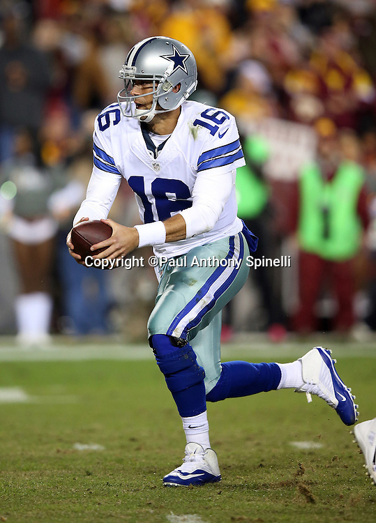 Dallas Cowboys quarterback Matt Cassel (16) hands off the ball on a running play during the 2015 week 13 regular season NFL football game against the Washington Redskins on Monday, Dec. 7, 2015 in Landover, Md. The Cowboys won the game 19-16. (©Paul Anthony Spinelli)
