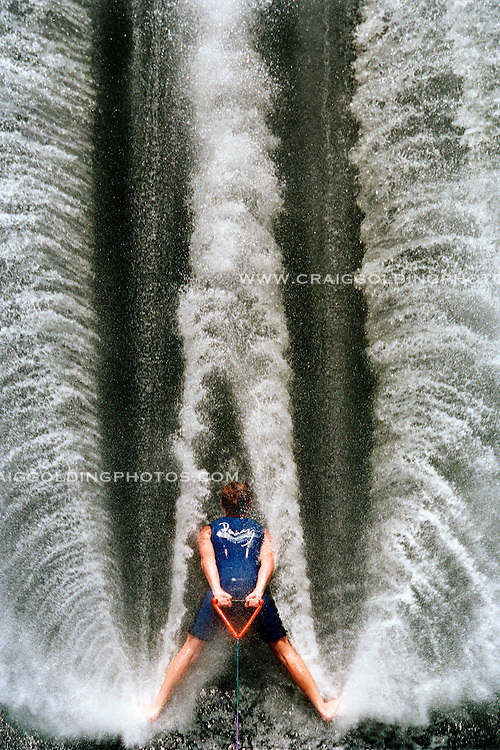 .JOHN PENNAY trains for the World Barefoot Waterskiing Championships at Helles Park in Liverpool. NSW, Australia.