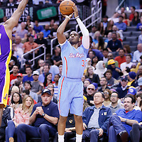 06 April 2014: Los Angeles Clippers guard Chris Paul (3) takes a jumpshot during the Los Angeles Clippers 120-97 victory over the Los Angeles Lakers at the Staples Center, Los Angeles, California, USA.