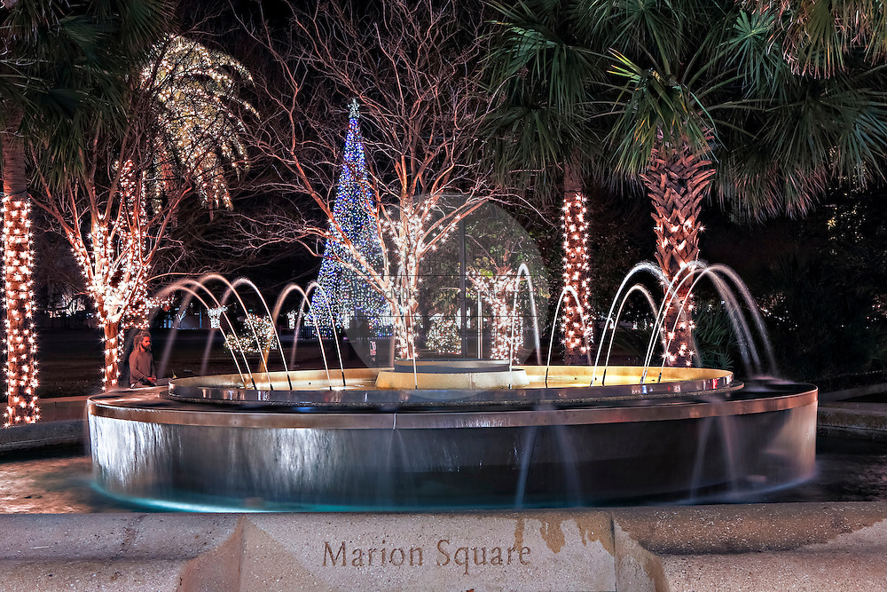 Fountain at historic Marion Square decorated for Christmas in Charleston, South Carolina.