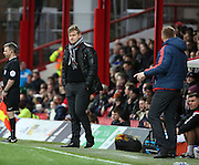 Milton Keynes Dons manager Karl Robinson not looking to impressed with the first half performance during the Sky Bet Championship match between Brentford and Milton Keynes Dons at Griffin Park, London, England on 5 December 2015. Photo by Matthew Redman.