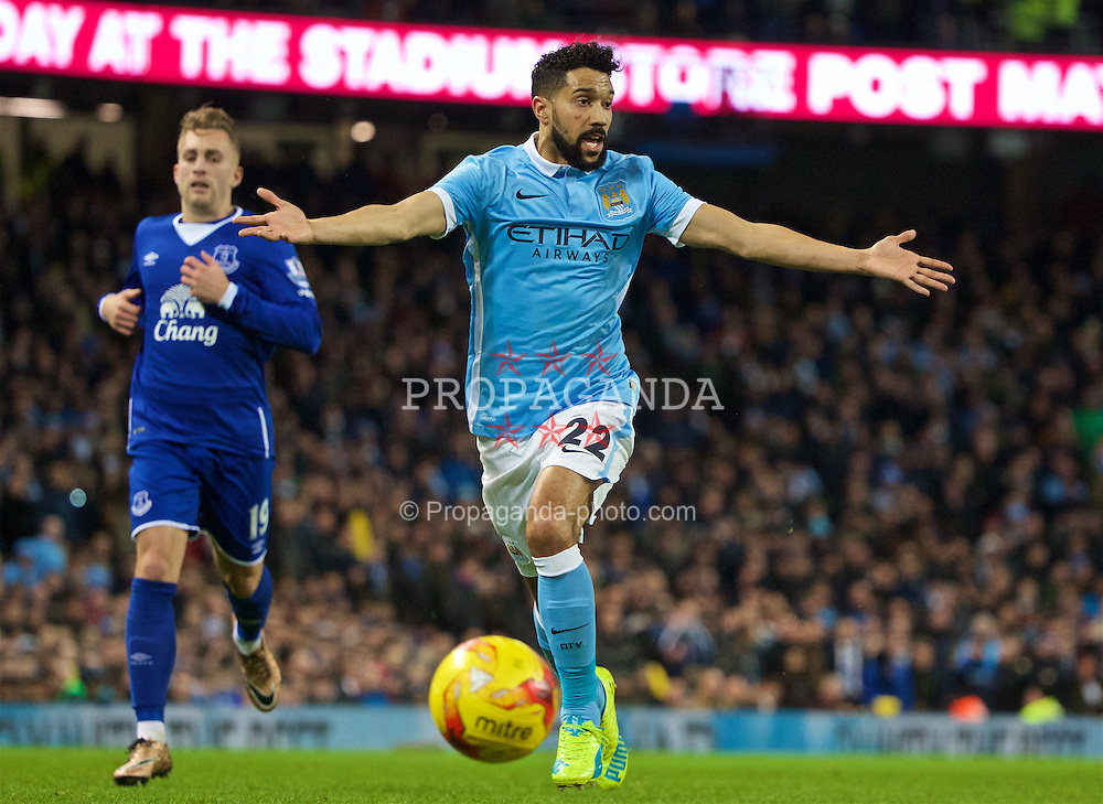 MANCHESTER, ENGLAND - Wednesday, January 27, 2016: Manchester City's Gael Clichy in action against Everton during the Football League Cup Semi-Final 2nd Leg match at the City of Manchester Stadium. (Pic by David Rawcliffe/Propaganda)