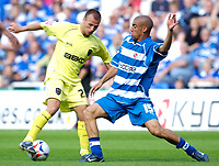 Photo: Daniel Hambury.<br /> Reading v Millwall. Coca Cola Championship.<br /> 20/08/2005.<br /> Reading's James Harper and Millwall's Jody Morris battle for the ball.