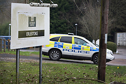 © Licensed to London News Pictures. 24/03/2017. London, UK. A police car waits at Erlestoke prison after the Appeal Court announced that it's decision of Sgt Alexander Blackman's sentence for manslaughter is delayed until next week. Sgt Blackman's life sentence for the murder of a wounded Taliban fighter in Afghanistan in 2011 was reduced to manslaughter on appeal. Photo credit: Peter Macdiarmid/LNP