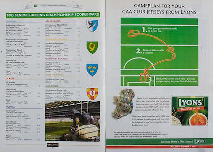 All Ireland Senior Hurling Championship - Final,.14092003AISHCF,.14.09.2003, 09.14.2003, 9th September 2003,.Senior Kilkenny 1-14, Cork 1-11,.Minor Kilkenny 2-16, Galway 2-15,.Lyons, .