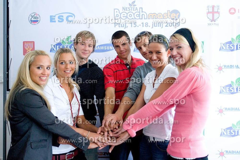 From L: Simona Fabjan, Erika Fabjan, Alen Djordjevic Kamenik,  Gregor Perhaj, Jernej Potocnik,  Andreja Vodeb and  Martina Jakob at press conference of Nestea BeachMaster tournament 2009 and Slovenian Beach Volleyball Tour,  on July 9, 2009, in Tivoli, Ljubljana, Slovenia. (Photo by Vid Ponikvar / Sportida)