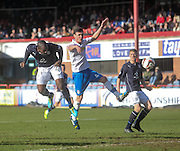 Christian Nade heads home Dundee's opening goal - Dundee v Greenock Morton, SPFL Championship at <br /> Dens Park<br /> <br />  - &copy; David Young - www.davidyoungphoto.co.uk - email: davidyoungphoto@gmail.com
