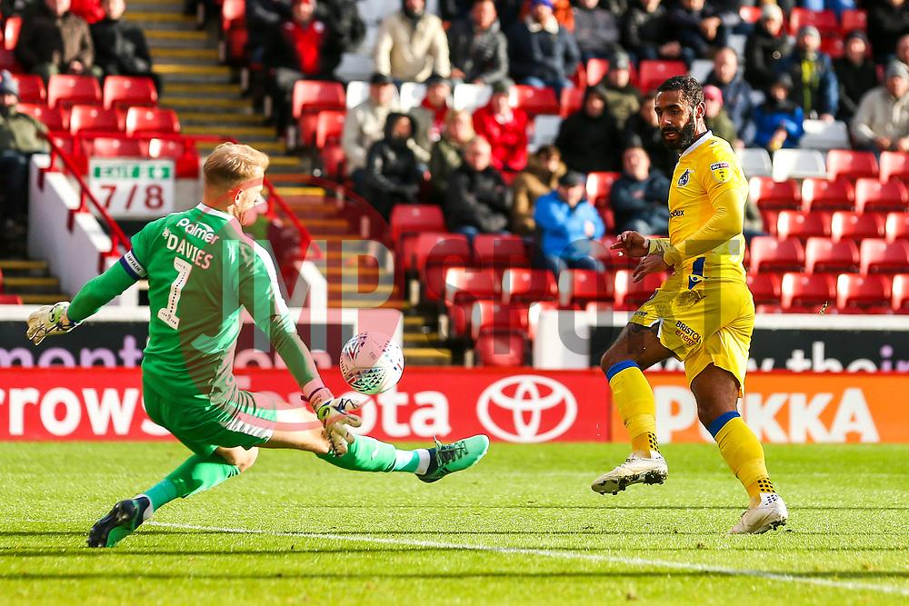 Stefan Payne of Bristol Rovers has a shot saved by Adam Davies of Barnsley - Mandatory by-line: Robbie Stephenson/JMP - 27/10/2018 - FOOTBALL - Oakwell Stadium - Barnsley, England - Barnsley v Bristol Rovers - Sky Bet League One
