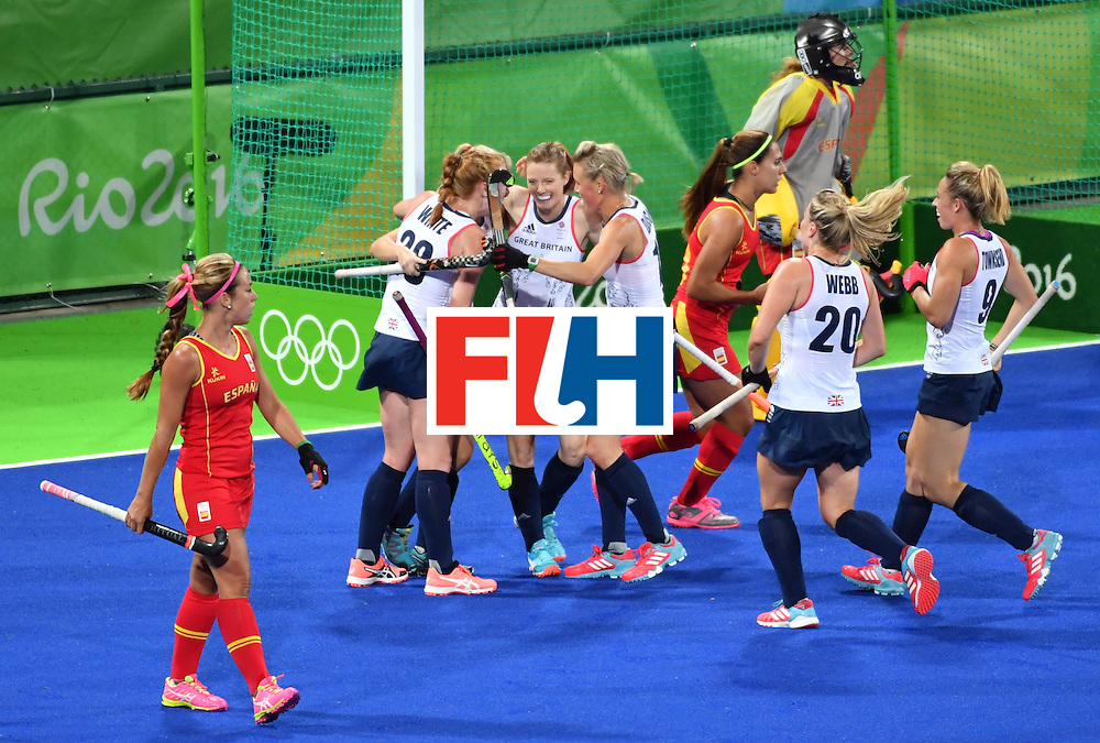 Britain's players celebrate a goal during the women's quarterfinal field hockey Britain vs Spain match of the Rio 2016 Olympics Games at the Olympic Hockey Centre in Rio de Janeiro on August 15, 2016. / AFP / Pascal GUYOT        (Photo credit should read PASCAL GUYOT/AFP/Getty Images)