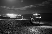 Fishing in the moonlight, Full moon in Bexhill on Sea. 17 October 2016