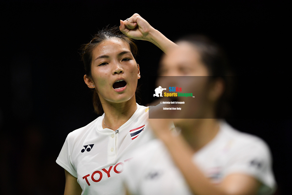 BANGKOK, THAILAND - MAY 25: Jongkolphan Kititharakul and Rawinda Prajongjai of Thailand reaction on Court 1 during her Semi-Finals match against Chen Yufei and Jia Yifan of China at the BWF Total Thomas and Uber Cup Finals 2018, Impact Arena , Bangkok, Thailand on May 25, 2018.<br /> .<br /> .<br /> .<br /> Photo by: Naratip Golf Srisupab/SEALs Sports Images<br /> <br /> .<br /> All photo must include a credit line adjacent to the content: Naratip Golf Srisupab/SEALs Sports Images