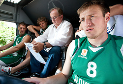 Goran Jagodnik, Miha Zupan, Bozidar Maljkovic and Matjaz Smodis during filming of video for Eurobasket Lithuania 2011 of Slovenian National Basketball team during training camp in Kranjska Gora, on July 12, 2011, in Kranjska Gora, Slovenia. (Photo by Vid Ponikvar / Sportida)