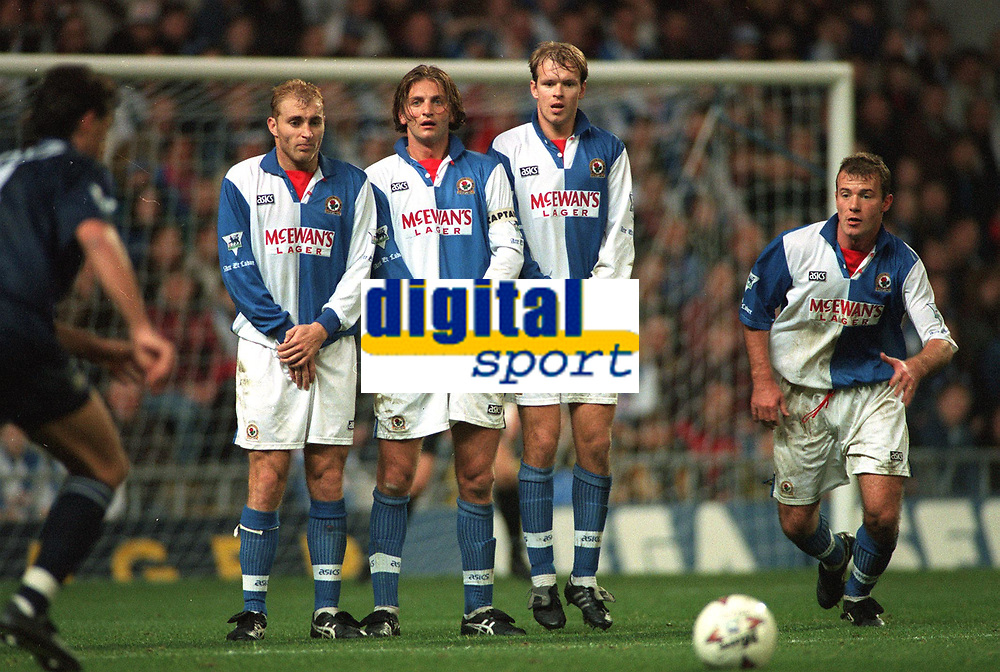 Blackburn Rovers wall ( Stuart Ripley, Tim Sherwood, Henning Berg, and Alan Shearer). Blackburn v Tottenham, Premier League Football, 5/11/94. Credit: Colorsport.