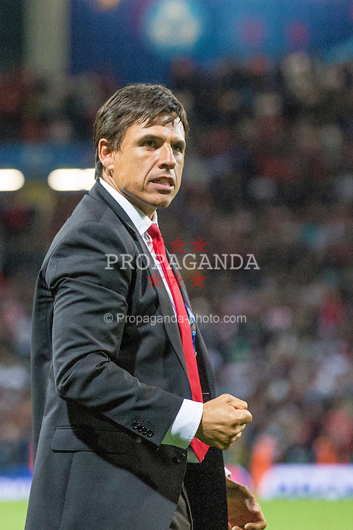 TOULOUSE, FRANCE - Monday, June 20, 2016: Wales manager Chris Coleman celebrates the 3-0 victory and progression into the knockout stages after the final Group B UEFA Euro 2016 Championship match against Russia at Stadium de Toulouse. (Pic by Paul Greenwood/Propaganda)