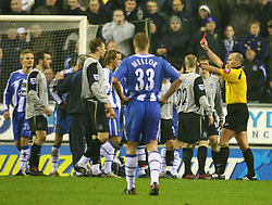 WIGAN, ENGLAND - TUESDAY, JANUARY 31st, 2006: Everton's Duncan Ferguson gets sent off during the Premiership match against Wigan Athletic at the JJB Stadium. (Pic by David Rawcliffe/Propaganda)