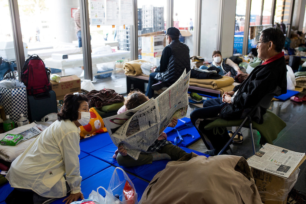 KUMAMOTO, JAPAN - APRIL 20: Evacuees rest in the morning on Wednesday April 20, 2016 in Mashiki Gymnasium evacuation center, Kumamoto, Japan. As of April 45 people were confirmed dead after strong earthquakes rocked Kyushu Island of Japan. Nearly 11,000 people are reportedly evacuated after the tremors Thursday night at magnitude 6.5 and early Saturday morning at 7.3.<br /> <br /> Photo: Richard Atrero de Guzman