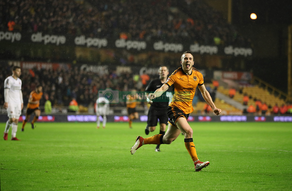 Diogo Jose Teixeira Da Silva celebrates his goal with team mate Barry Douglas during the Sky Bet Championship match between Wolverhampton Wanderers and Sheffield United.